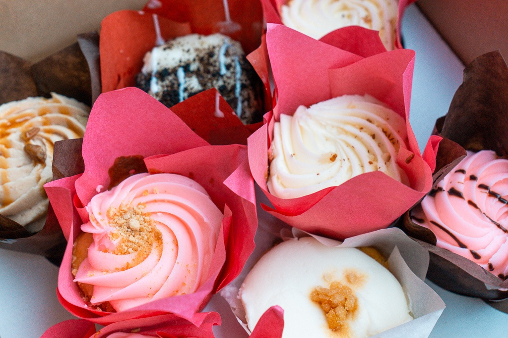 A variety of different cupcakes from Fat Bottomed Girls Cupcakes in Hot Springs, Arkansas - places to eat in Hot Springs