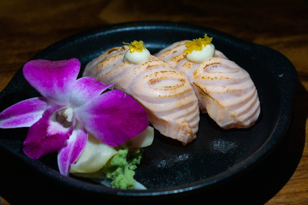 Torched salmon nigiri sushi from Kojo in Sarasota, Florida