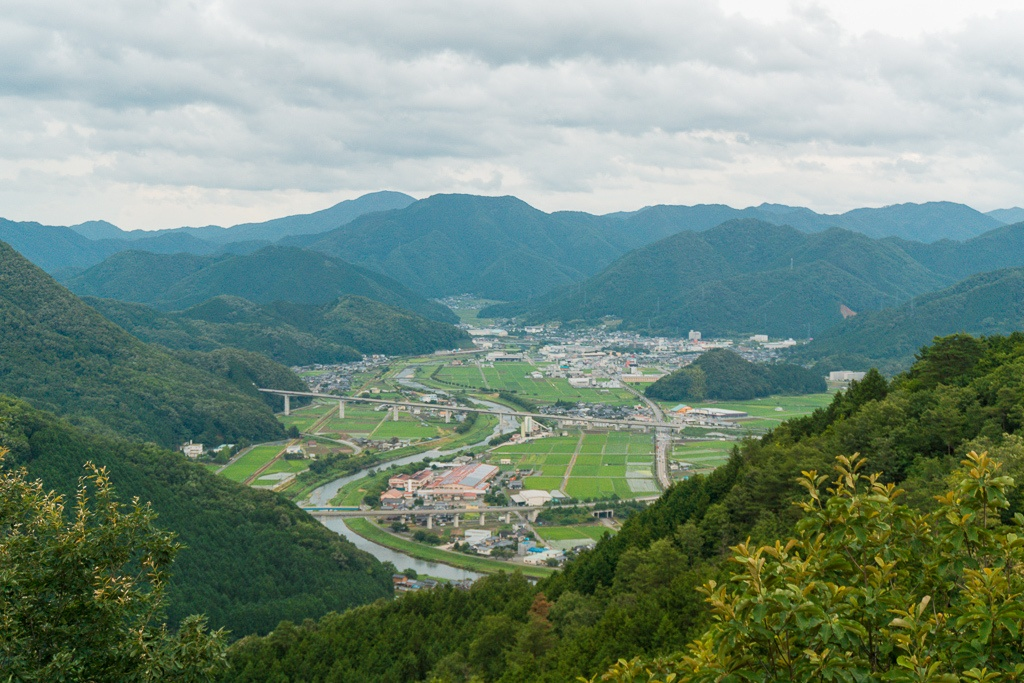View from the top of Takeda Castle overlooking the city in Asago, Japan