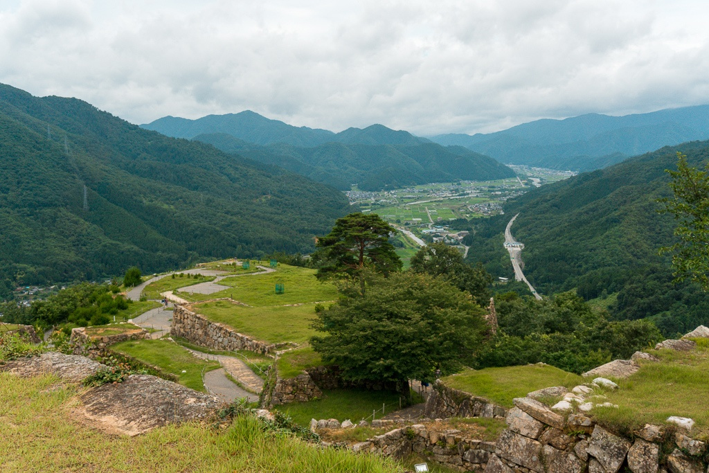 View of Takeda Castle Ruins from the top overlooking Asago City, Japan