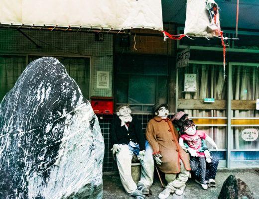 Life size dolls outside at Nagoro Doll Village in Iya Valley Shikoku, Japan