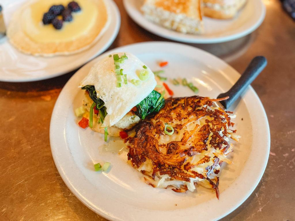 Crabcake and hashbrowns from Station 400 in Sarasota