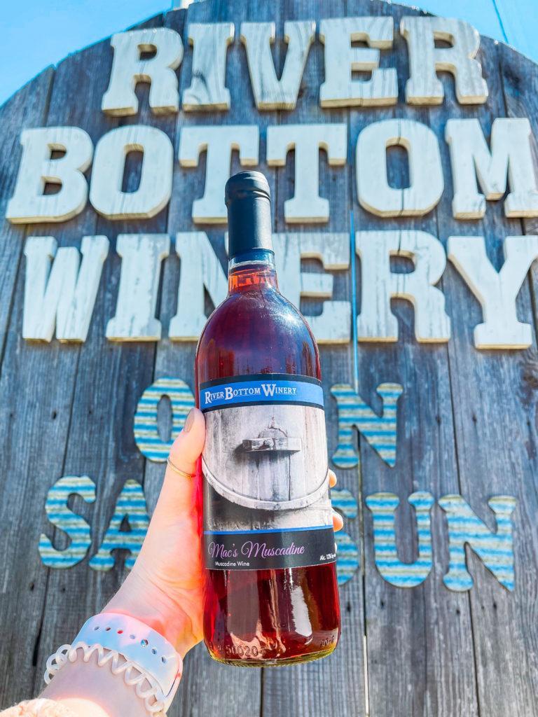 Bottle of wine from River Bottom Winery in near Little Rock, Arkansas - Arkansas wineries.