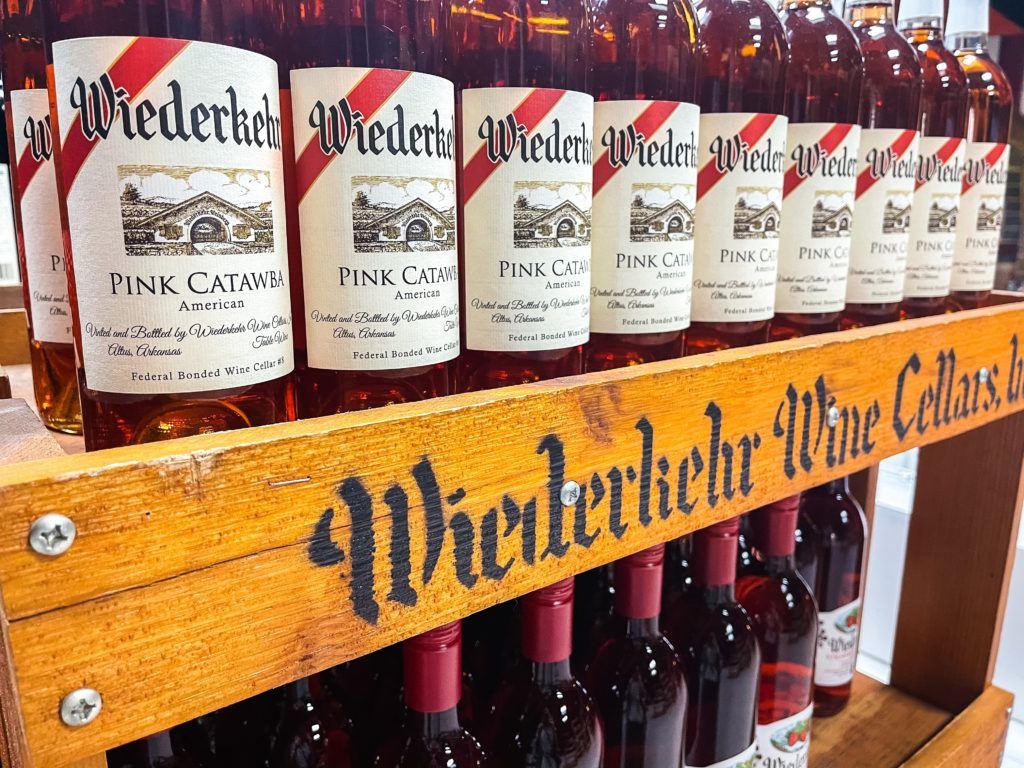 Bottles of wine at Wiederkehr Wine Cellars in Altus, Arkansas.