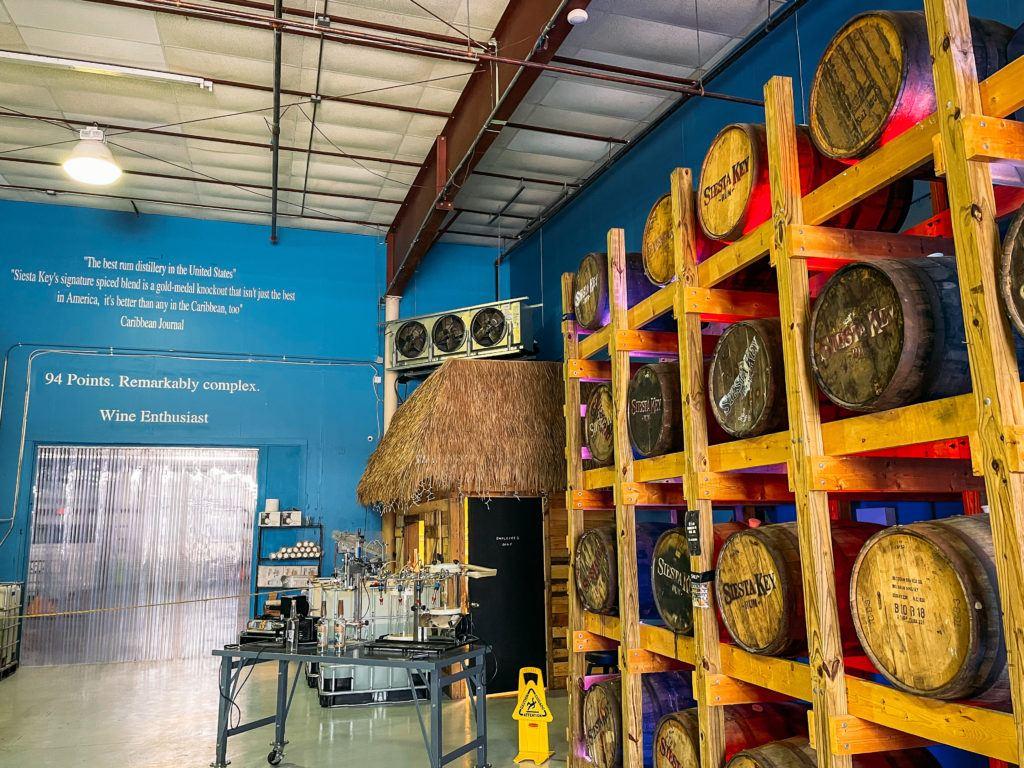 Barrels of rum at Siesta Key Rum distillery tour in Sarasota, Florida