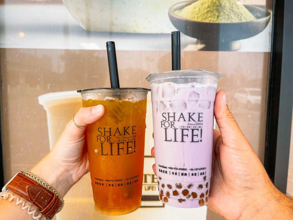 Mango green tea and taro milk tea from Ding Tea - Sarasota desserts