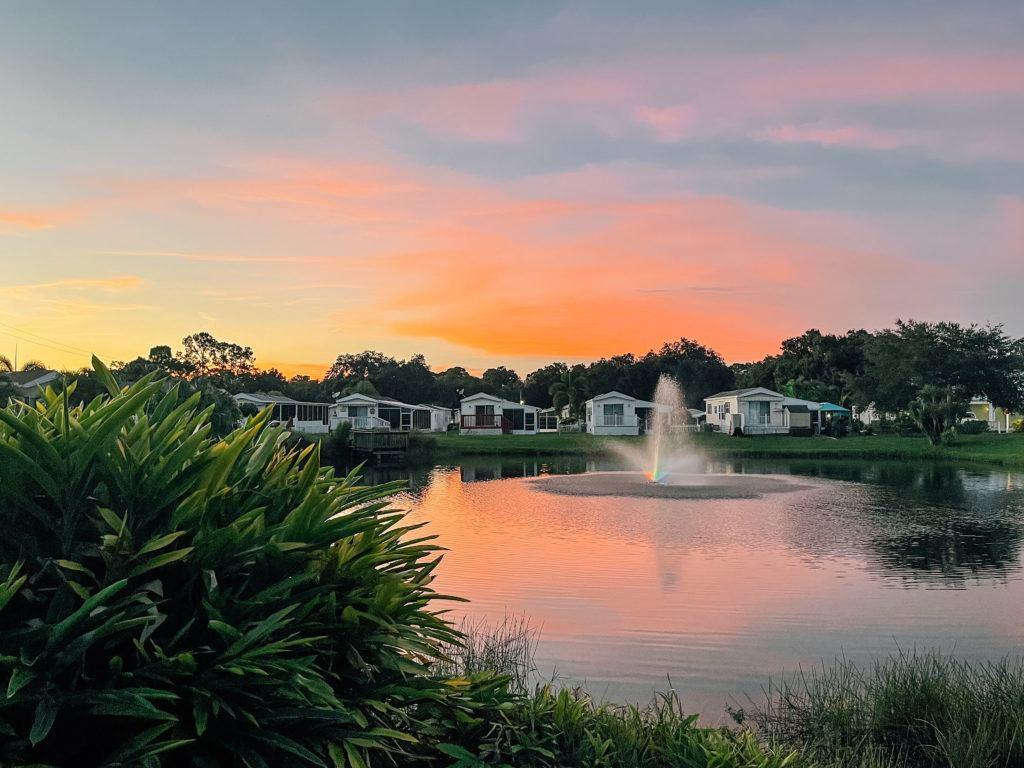 Sunset view at Sun N Fun RV Resort in Sarasota, Florida - places to stay in Sarasota
