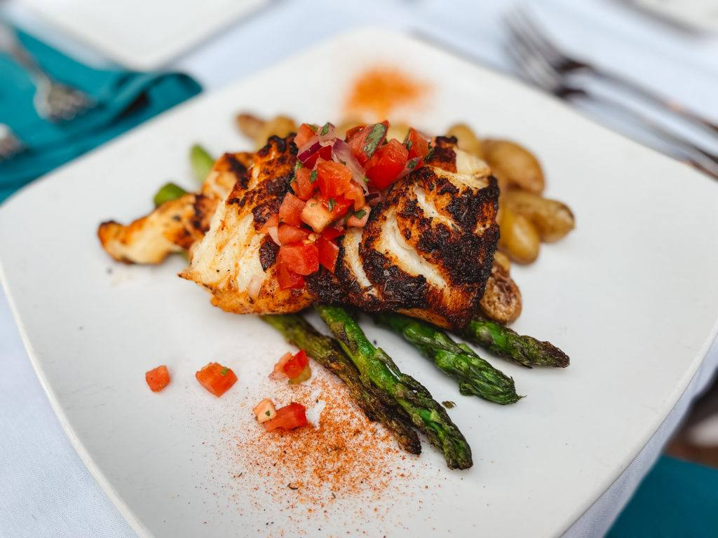 Blackened grouper with asparagus and fingerling potatoes from Duval's in Sarasota, Florida