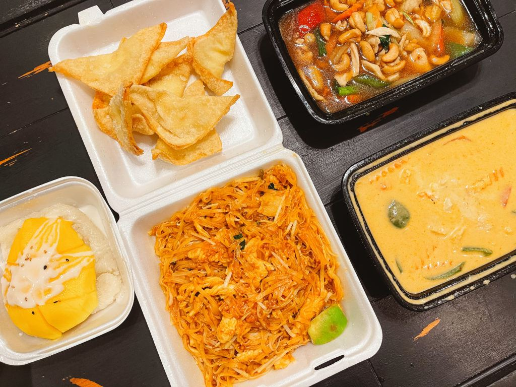 Mango sticky rice, pad thai, crab wontons, panag curry, and stir fried cashew from Pattaya Thai & Sushi in Rogers, Arkansas