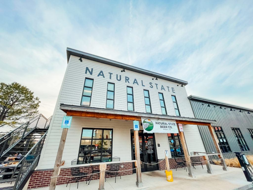 The outside of Natural State Beer Company in Rogers, Arkansas