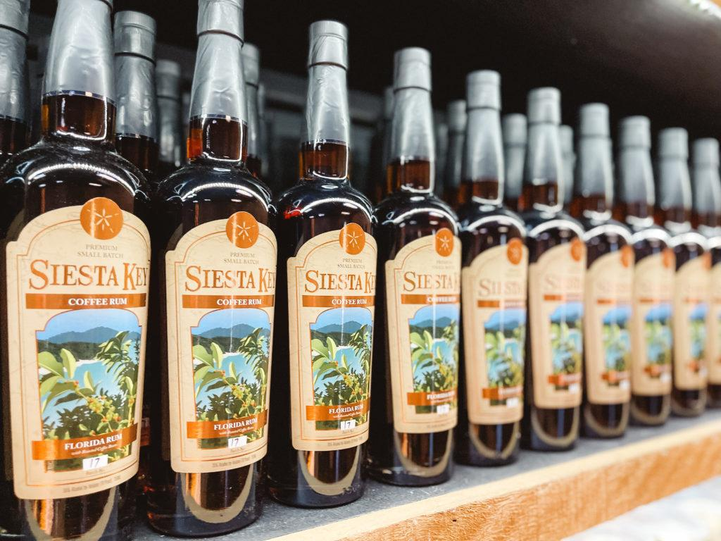 Bottles of rum at Siesta Key Rum in Sarasota, Florida